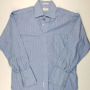 Lanvin Mens Crew Neck Button Down Dress Blue